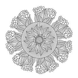 手繪線描風格曼陀羅花紋