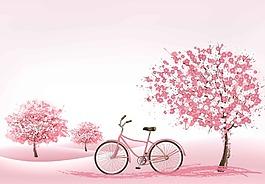 櫻花樹下的自行車