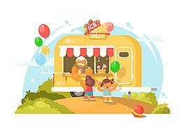 卡通冰淇淋車