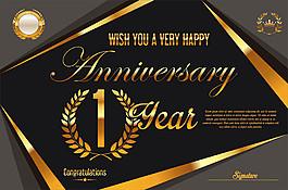 復古金色1周年慶背景圖片