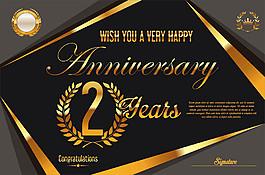 復古金色2周年慶背景圖片