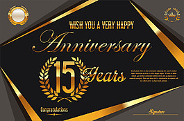 復古金色15周年慶背景圖片