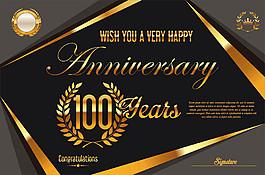 复古金色100周年庆背景图片
