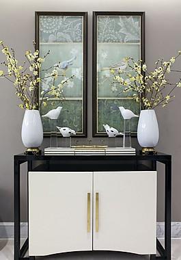 新中式客廳收納柜效果圖