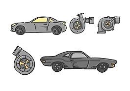 矢量手繪汽車