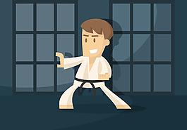 扁平化跆拳道插画