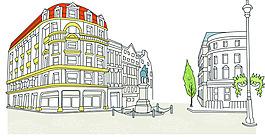 線框建筑城市素材