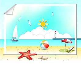 矢量沙灘元素設計
