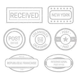 灰色印章效果郵戳圖標