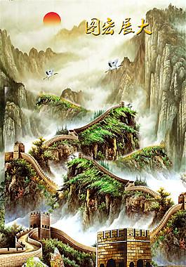 長城風景油畫圖片