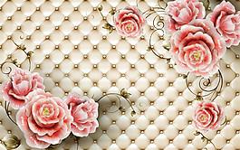 玉雕花朵格子背景圖片