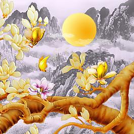水墨山水玉蘭花圖片