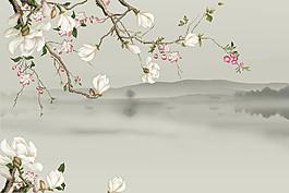 水墨玉蘭花背景墻圖片