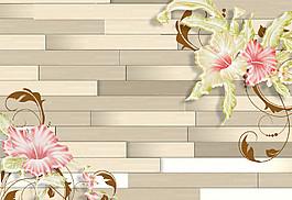 鮮花木地板背景圖片