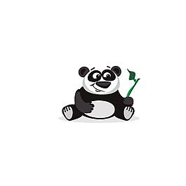 卡通熊貓竹葉