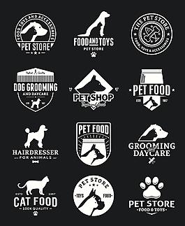黑色卡通矢量宠物图标合集
