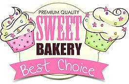 粉色卡通手繪風格插畫甜品店圖標素材