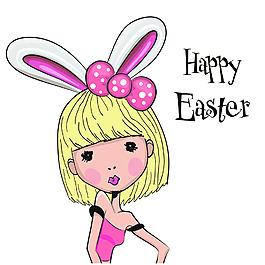 可愛兔女郎帥氣卡通插畫矢量女孩素材