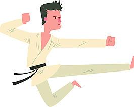 练习跆拳道的男人卡通插画矢量素材
