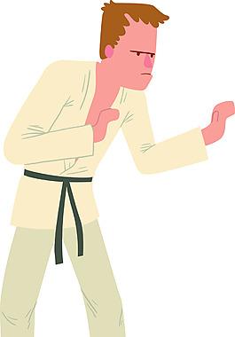 练习跆拳道的男人卡通插画矢量