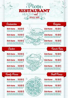 實體飲食店鋪價目表矢量素材