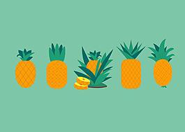 手繪扁平菠蘿素材