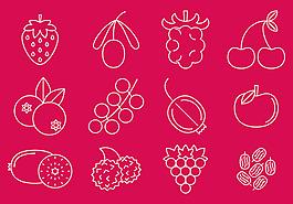 手繪線性水果素材