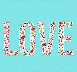 彩色花鳥裝飾愛LOVE的藝術字矢量素材
