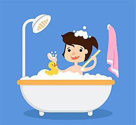 卡通洗浴的兒童和小黃鴨矢量素材