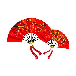 中國風紅色扇子元素