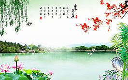 蓮花湖泊風景圖片