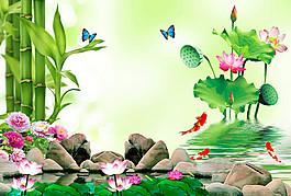 鮮花竹子錦鯉圖片
