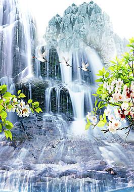 瀑布水流風景圖片