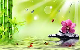 竹子蘭花背景墻圖片