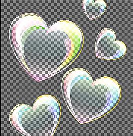 矢量爱心气泡