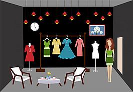 矢量扁平裙子服飾店