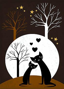 扁平可爱猫咪插画