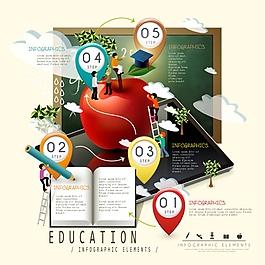教育圖標矢量背景