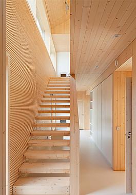 現代簡約實木樓梯設計圖