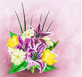 水彩百合花