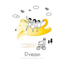 卡通梦想骑自行车的人