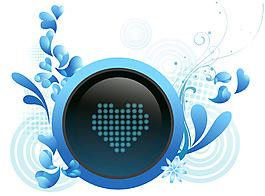藍色水珠心形背景