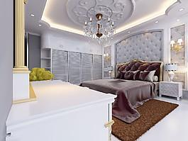豪華水晶燈臥室效果圖圖片