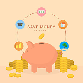 存錢罐與硬幣圖標背景