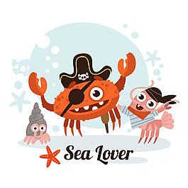 海盜螃蟹龍蝦插圖背景