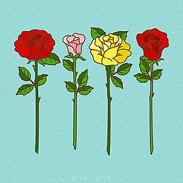 漂亮的手绘彩色玫瑰