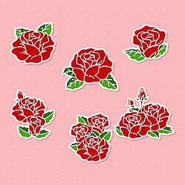 手绘玫瑰插图贴纸图标