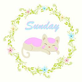 小猫绿色花边背景设计