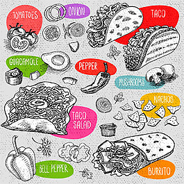 雞肉卷素描插畫圖片