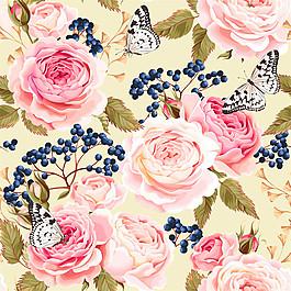 粉色花朵果子蝴蝶圖案圖片